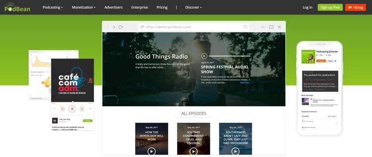 podbean podcast hosting website