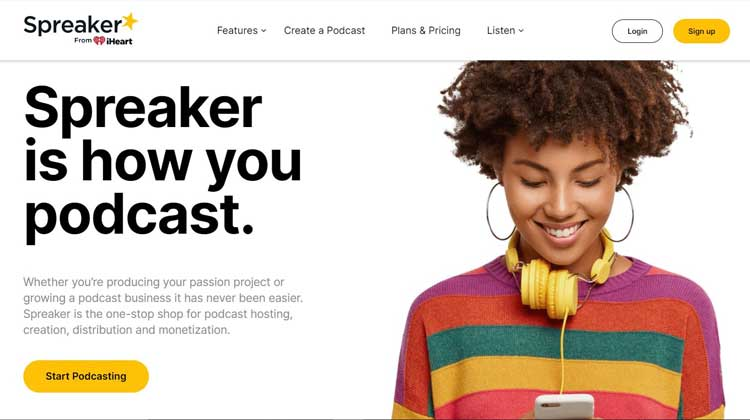 spreaker podcast hosting website