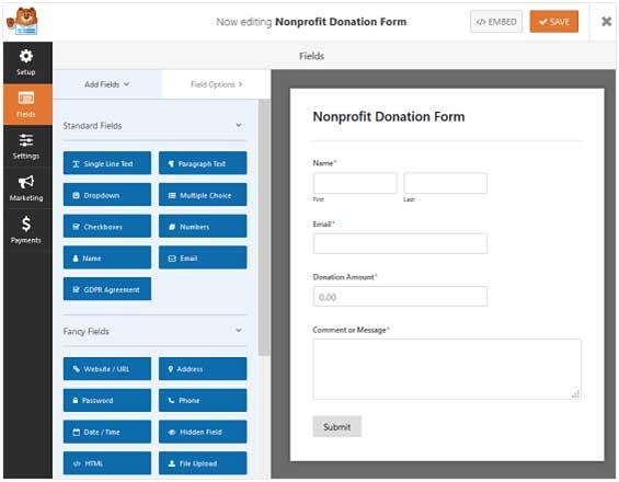 customize donation form fields