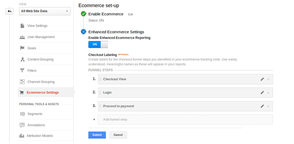 ecommerce setup google analytics