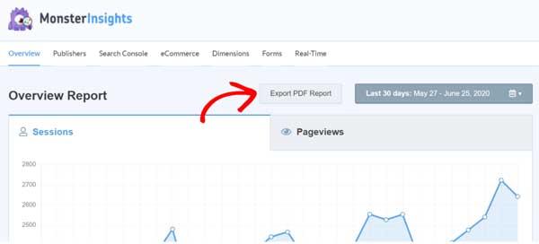 export pdf report MonsterInsights